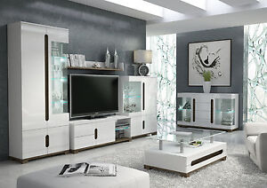 Lorenz High Gloss White Sideboard Tv Unit Tall Display