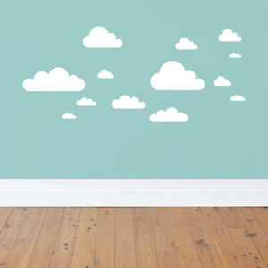 Image Is Loading 20 New WHITE CLOUDS WALL DECALS Baby Nursery