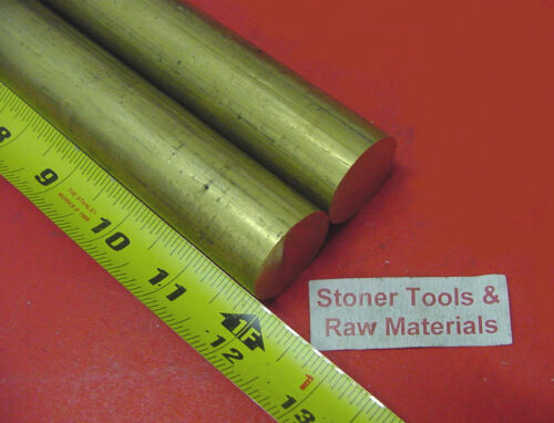 """2 Pieces 1-1//8/"""" C360 BRASS SOLID ROUND ROD 12/"""" long H02 Lathe Bar Stock 1.125/"""""""