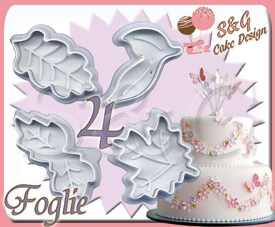 SET 4 STAMPINI FOGLIE AD ESPULSIONE CAKE DESIGN per PASTA DI ZUCCHERO e FONDENTE