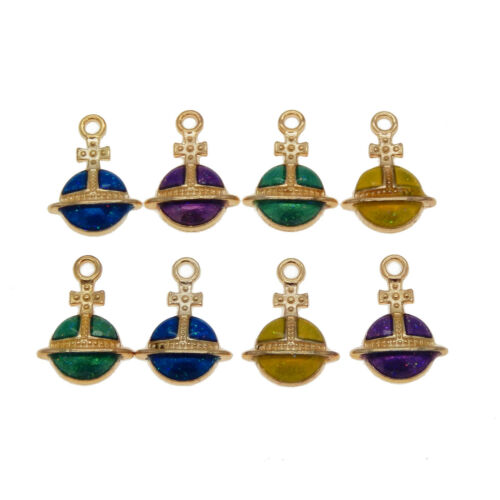 Pack of 16 Multi-colored Enamel Plated Metal Planet Charms Necklaces Pendants