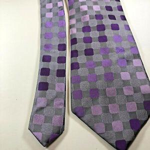 Sean-John-Men-039-s-Necktie-Gray-Purple-Geometric-100-Silk-Tie-W-3-75-034-L-58-034