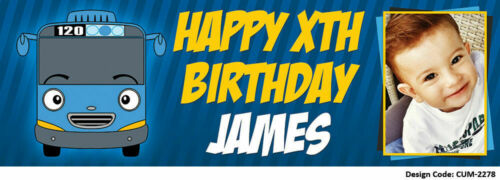 Tayo the Bus Birthday Banners PVC Personalised Banner Vinyl Customised Banner