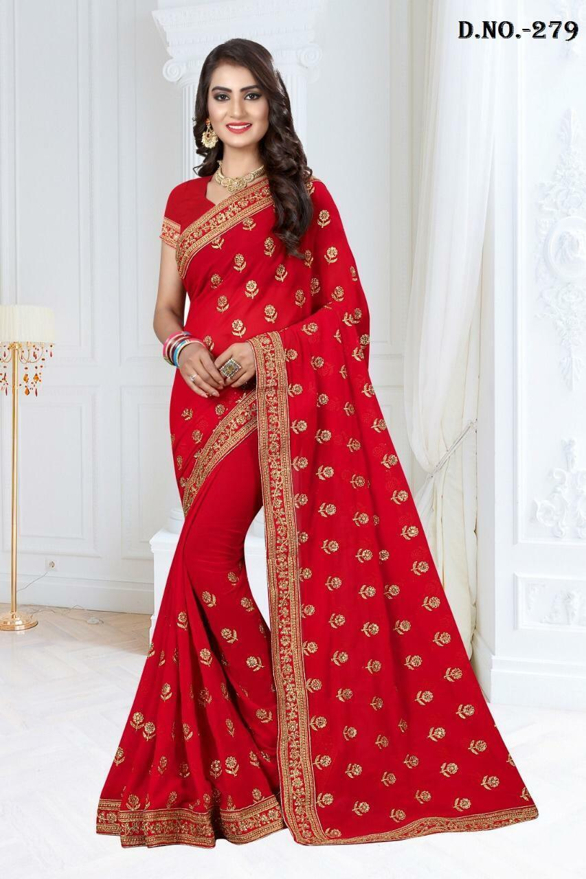 Heavy Zari Embroidery Stone Work Saree Designer Indian Wedding Bridal Sari BR35