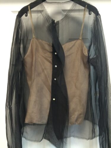 LANVIN Black Shear Silk Blouse Pearl Buttons Beig