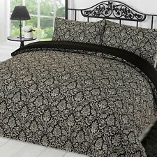 Dreamscene Damask Duvet Cover with Pillowcase Bedding Set Sanctuary Black Grey