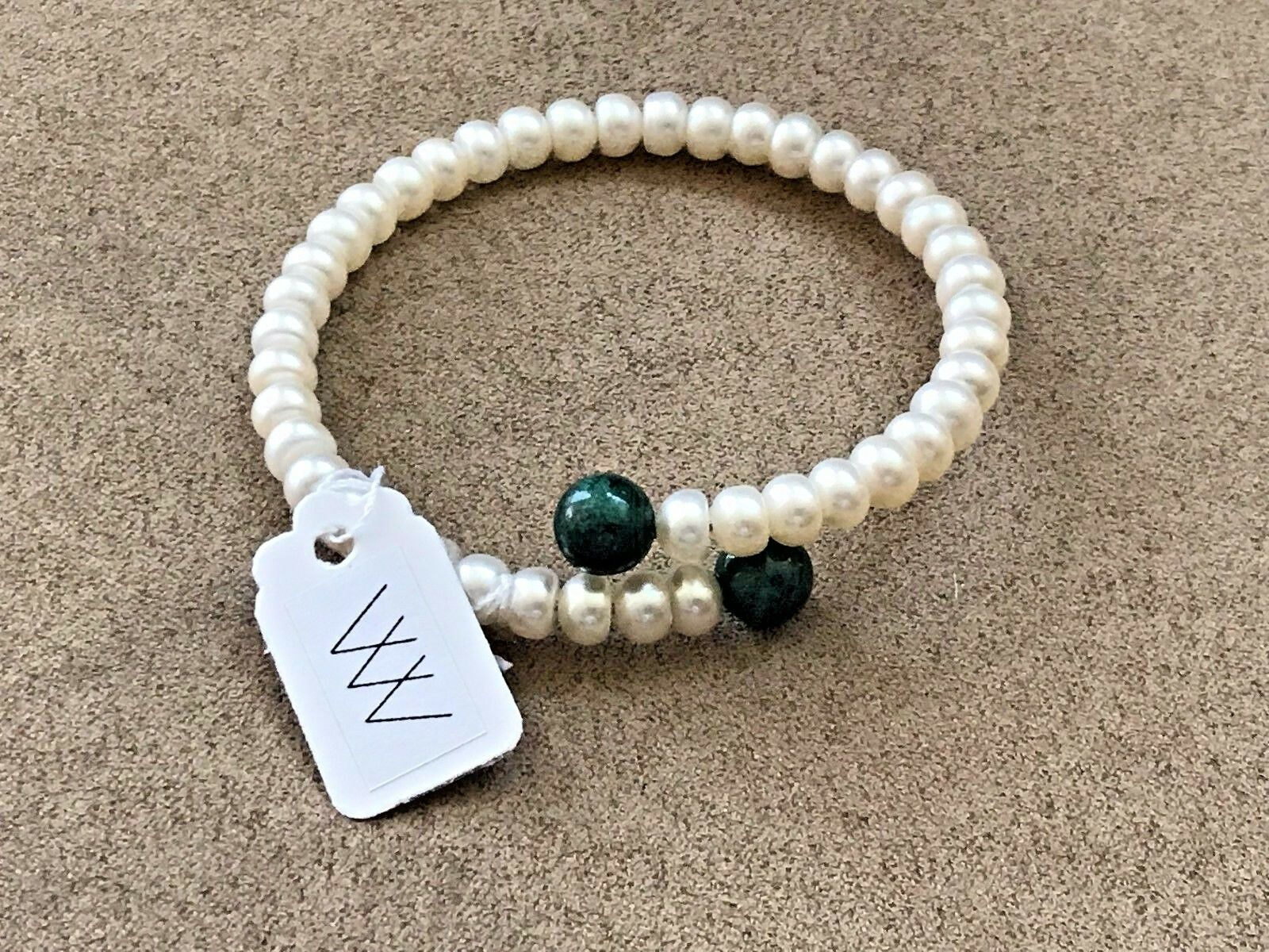 Freshwater Pearl memory wire bracelets with green agate size   flexible