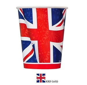 Image is loading 8-x-UNION-JACK-PARTY-CUPS-Royal-Wedding-  sc 1 st  eBay & 8 x UNION JACK PARTY CUPS Royal Wedding Street Disposable Plates ...