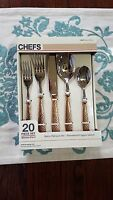 Chef's Bistro Hammered Copper Flatware 20pc Serving Set For 4 18/8 Ss