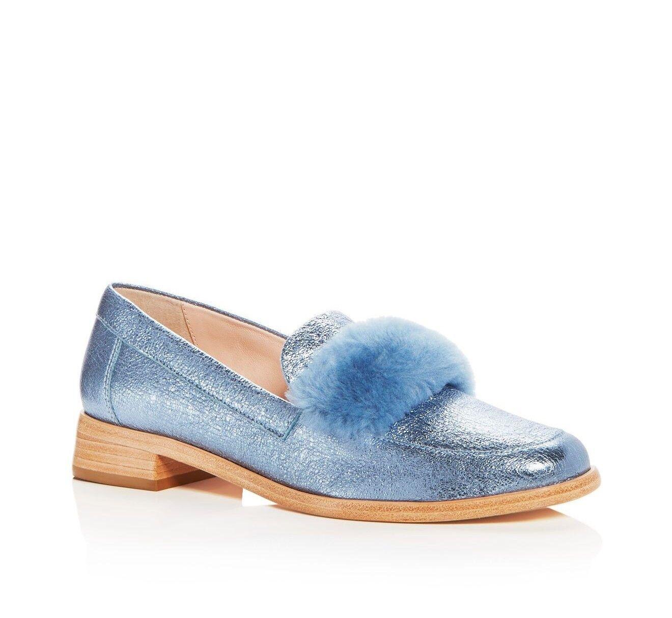 Loeffler Randall 7 Greta Metálico de Cuero Mocasines zapatos de piel de oveja Splash Azul