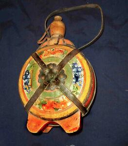1890' Hungarian Transylvania Wooden Flask Painted leather strip Wedding Invitati