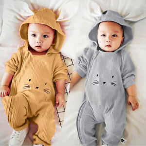 58b6f825d30b Unisex Newborn Infant Baby Boy Girl Winter Ear Hooded Romper ...