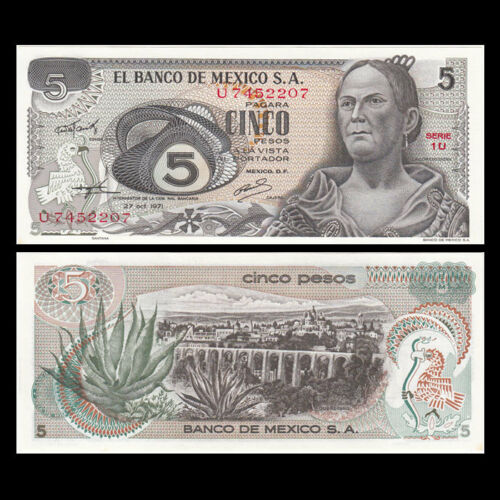 Banknotes P-62b Original 1971 Mexico 5 Pesos AU-UNC