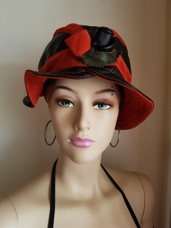 *~* Luka-pelli, Damen Hut/mütze Schwarz-rot 100%leder Elegant Lady *~*