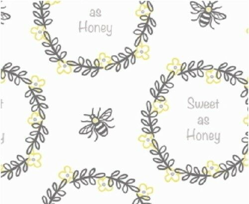 110cm Sweet as Honey Bee Happy Grey Mustard Bumble 100/% cotton fabric 44 inch