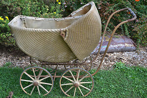 Baby Carriages & Buggies Rare Vintage Doll Wicker Carriage Buggy With Canopy Antiques