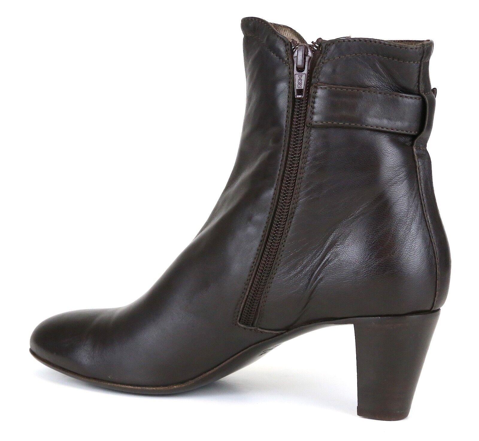 AGL Side Zip Leather Ankle Booties Dark Brown Women Sz 39.5 *