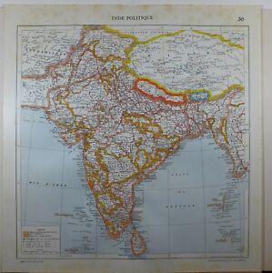 Carte De Linde Mysore.1929 Original Carte Inde Ceylan Mysore Calcutta Nepal Assam Bombay