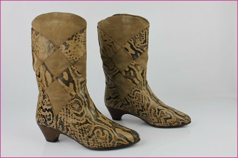 VINTAGE Mi-Bottes Leather and Suede printed Python Brown T 36 36,5