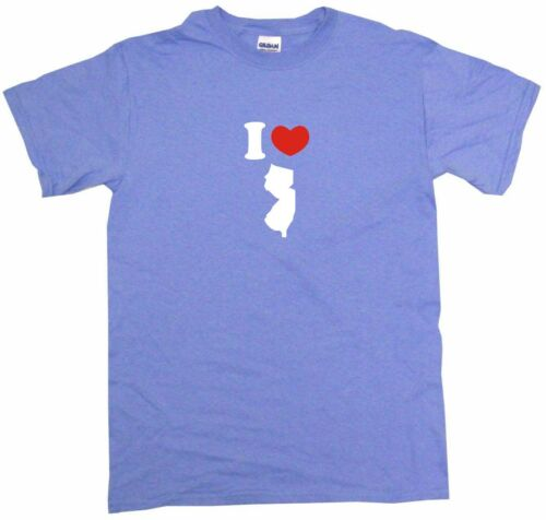 I Heart Love New Jersey Silhouette Mens Tee Shirt Pick Size Color Small-6XL