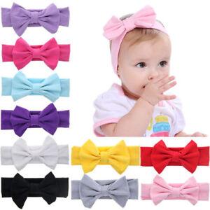 Baby Kinder Niedliche Baumwolle Schleife Haarband Stirnband Stretch Turban Knote