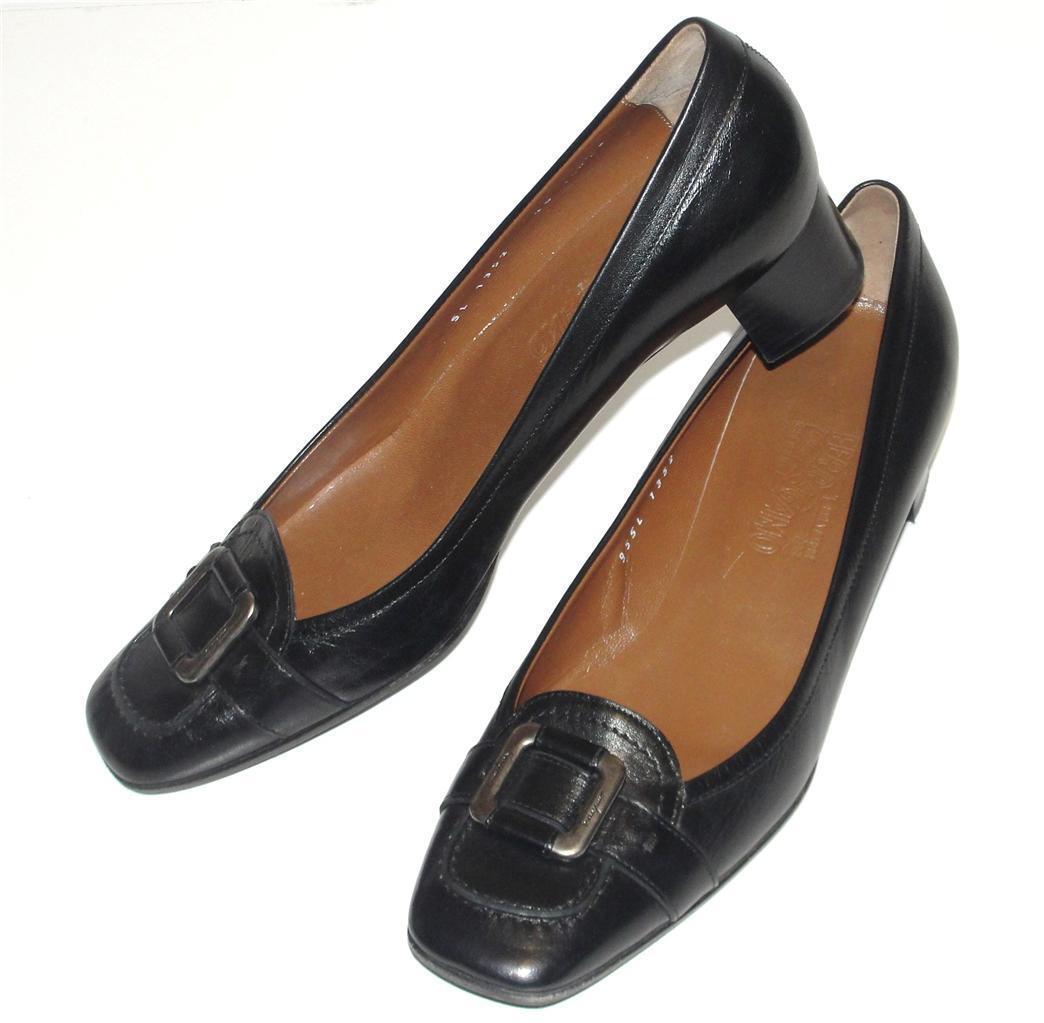Salvatore Ferragamo  diseñador  señoras  Negro    Firma Hebilla  Cuero Zapatos Tacones  distribución global