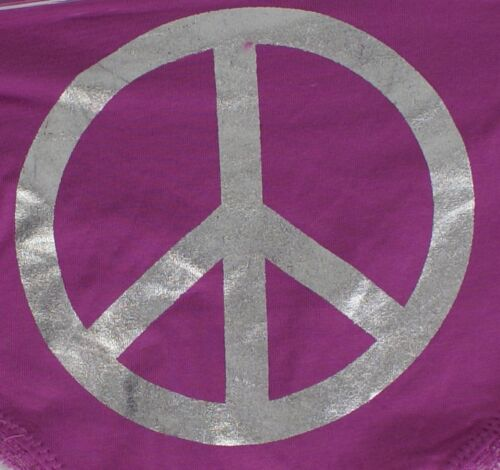 Pink /& Lilac Size 8//10 10//12 14//16 Ladies Briefs 92/% Cotton Peace Sign in Blue