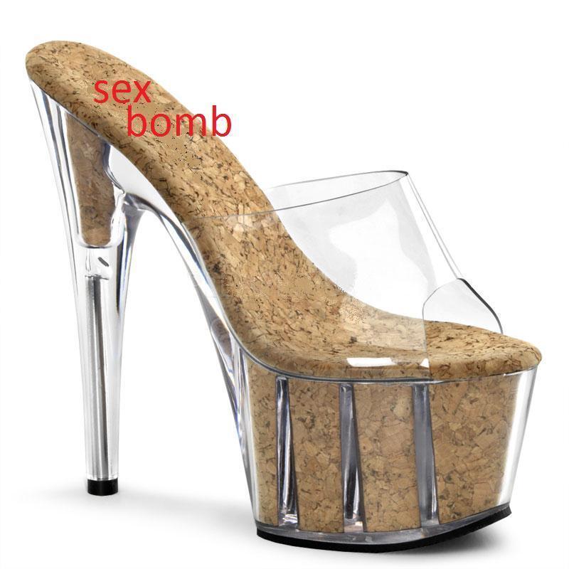 SEXY sabot sandali PLATEAU sughero TACCO 18 DAL 35 al 42 fashion GLAMOUR