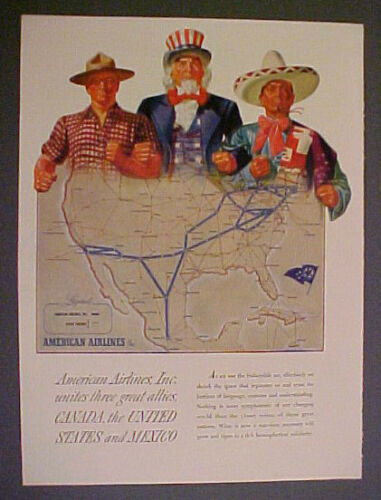 1943 American AirlinesUNCLE SAMALLIESCanadaUnited StatesMexico Trade Art AD