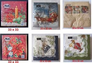 Servietten-Weihnachten-Advent-Kirche-Seiffen-Raeuchermann-Weihnachtsmann-Blumen