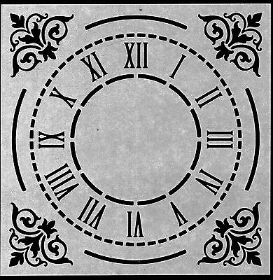 "8/"" Clock Face Roman Numerals /&  Corners durable 190mm Mylar 6/"" 12/"" Stencil"