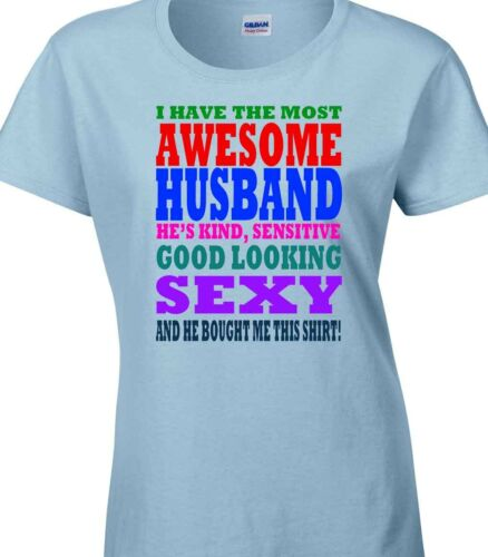 Awesome Husband Boyfriend T Shirt Gift for her Valentines Christmas Birthday