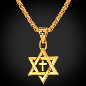 Star-of-David-Cross-Pendant-amp-Necklace-Chain-christian-Israel-Jewish-GOLD-PLATED