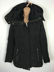 40316a6e8 Details about WOMENS MANGO BLACK FAUX FUR COLLAR ZIP UP DOWN FEATHER  PADDING WINTER COAT EUR S