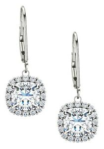 Sterling Silver Genuine 1.60 tcw. 6mm White Topaz Leverback Halo Earrings
