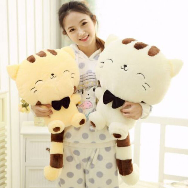 45CM Include Tail Cute Plush Stuffed Toys Cushion Fortune Cat Doll Gift Beige