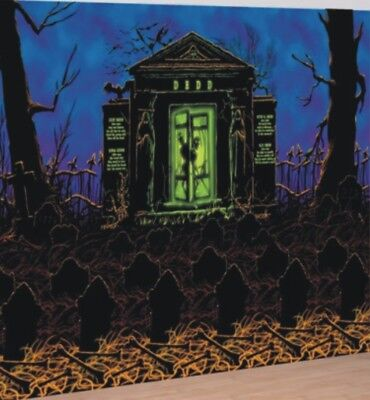 Halloween Party Scene Setter Ghostly Graveyard Room Roll Backdrop Decoration