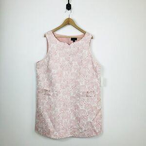NWT-Victoria-Beckham-For-Target-2X-Plus-Pink-Floral-Jacquard-Shift-Dress