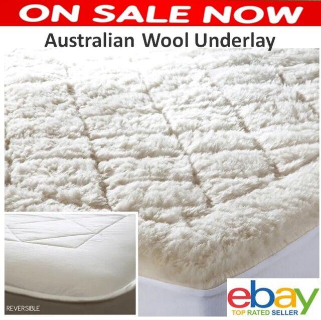 Queen Australian Wool Underlay Mattress Protector Topper Reversible Washable