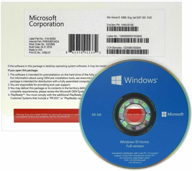 Microsoft Windows 10 Home 64 Bit DVD FULL VERSION w ...