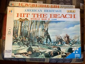 VINTAGE-BOARD-GAME-1965-AMERICAN-HERITAGE-HIT-THE-BEACH-WWII-GAME