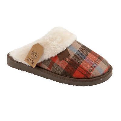Damas Mujeres Tartán Suela Dura Piel Forrada Slip On Mula Invierno Cálido Zapatillas Zapatos