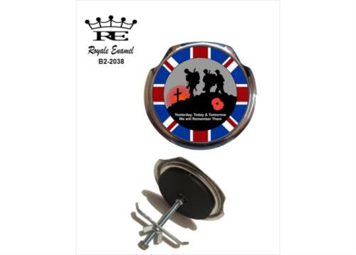 ROYALE CAR GRILL BADGE POPPY BADGE WE WILL REMEMBER THEM UNION JACK  B2.2038