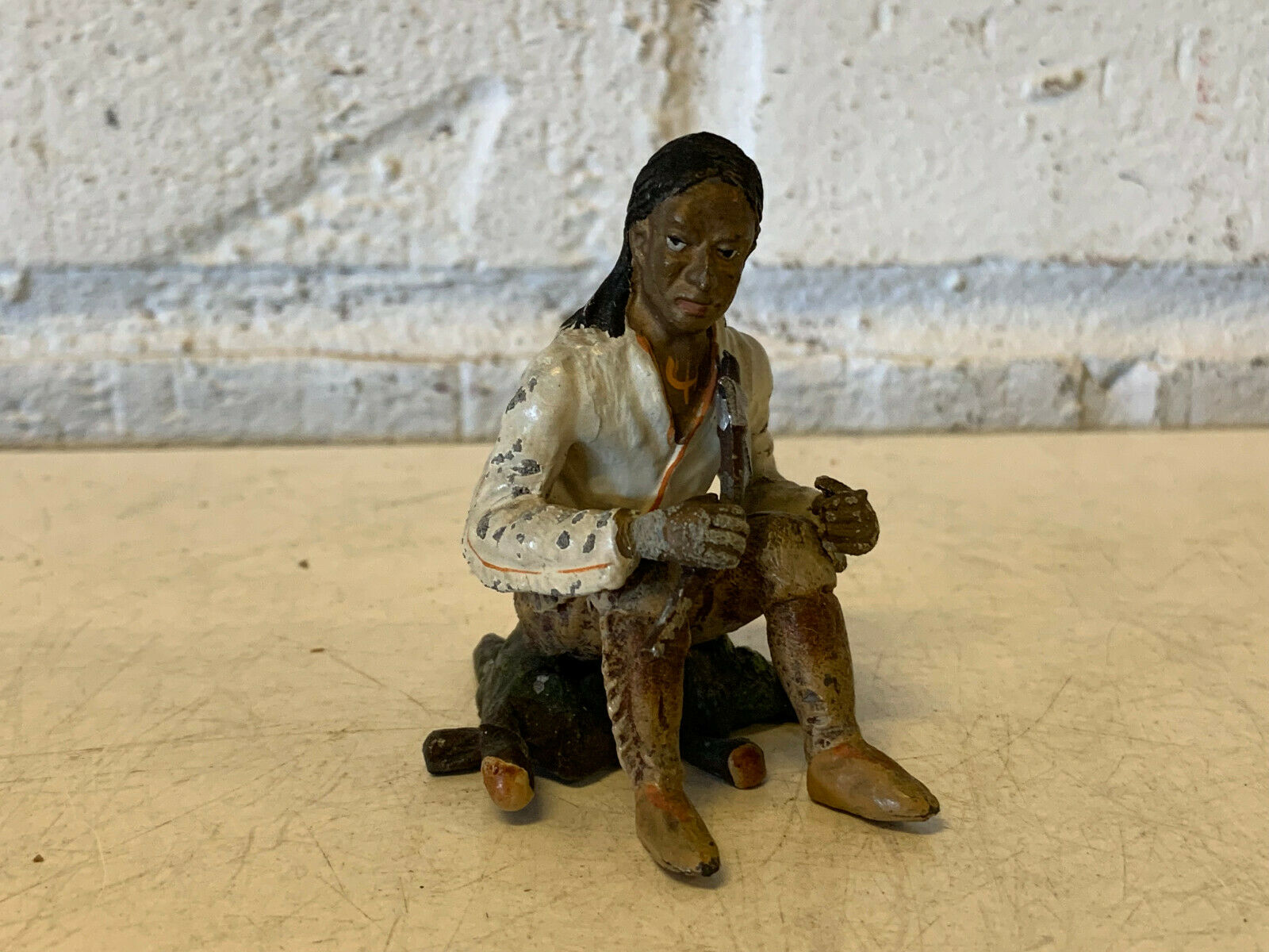 Antique Painted Lead Toy Native American Indian Figurine Holding Ax Hatchet Axe