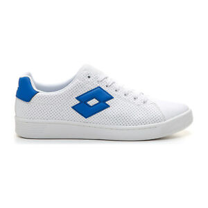 Scarpe-Lotto-210666-1JE-Bianco-Blu-Uomo-Sneakers-Moda-Basse