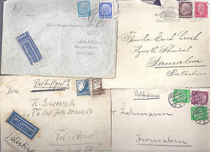 ISRAEL PALESTINE BRIT MANDATE 4 COVERS FROM GERMANY 1933-1939