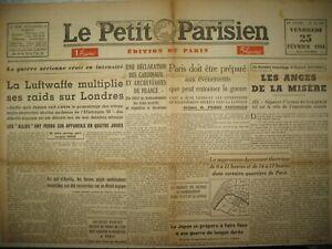 WW2-LONDRES-BOMBARDeE-MILICIENS-VICHY-RECENSEMENT-LE-PETIT-PARISIEN-25-02-1944