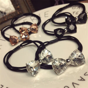 2PCS-Women-039-s-Crystal-Elastic-Hair-Ties-Band-Ropes-Ring-Ponytail-Holder-Hairband