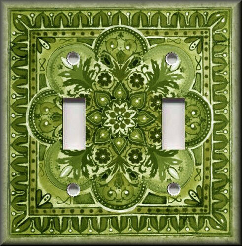 Metal Light Switch Plate Cover - Italian Tile Pattern - Fiore - Green Home Decor