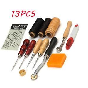 13-tlg-Leder-Werkzeug-Stitching-Craft-Hand-Naehen-Sewing-Stitching-Groover-Set